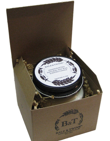 Mulled Cider Soy Candle, Gift wrapped in box with ribbon, handcrafted soy candle